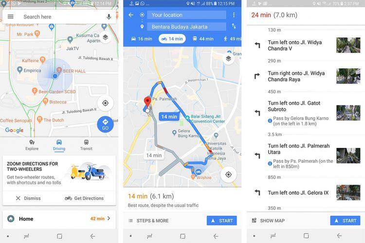 Tampilan rute khusus sepeda motor di Google Maps versi terbaru.