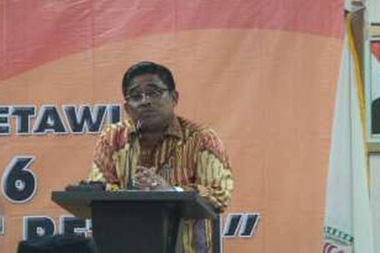 Pelaksana Tugas (Plt) Gubernur DKI Jakarta Sumarsono saat membuka Raker III Bamus Betawi, di Hotel Prioritas, Cisarua, Bogor, Jawa Barat, Sabtu (3/12/2016).