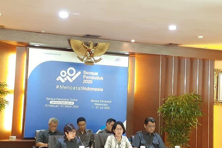 Deputi Bidang Statistik Distribusi dan Jasa BPS, Yunita Rusanti memaparkan inflasi bulan Februari 2020 di Jakarta, Senin (2/3/2020).