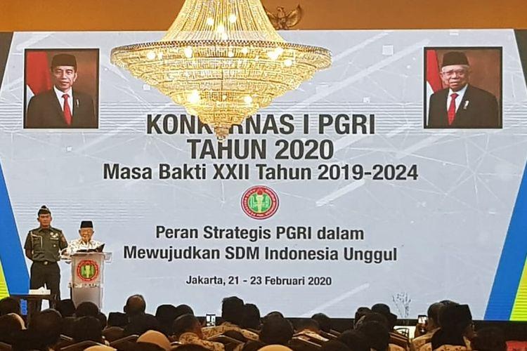 Wapres Maruf Amin saat membuka Konferensi Nasional PGRI Tahun 2020 di kawasan Kemayoran, Jakarta Pusat, Jumat (21/2/2020).