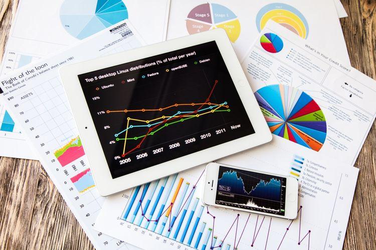 Ilustrasi grafik statistik business analytics