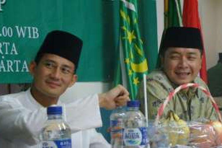Bakal calon gubernur DKI Jakarta dari Partai Gerindra, Sandiaga Uno saat menjadi pembicara dikusi yang diselenggarakan GP Ansor di Gedung PWNU DKI Jakarta di Jalan Utan Kayu, Jakarta Timur pada Sabtu (9/4/2016).