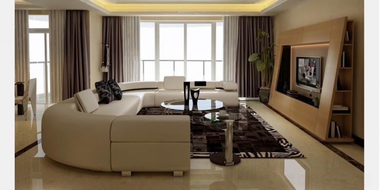Walau ukurannya relatif besar, sofa U ini pas ditempatkan di ruang kecil.