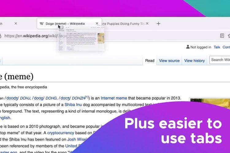 Tampilan baru di Mozilla Firefox versi 89
