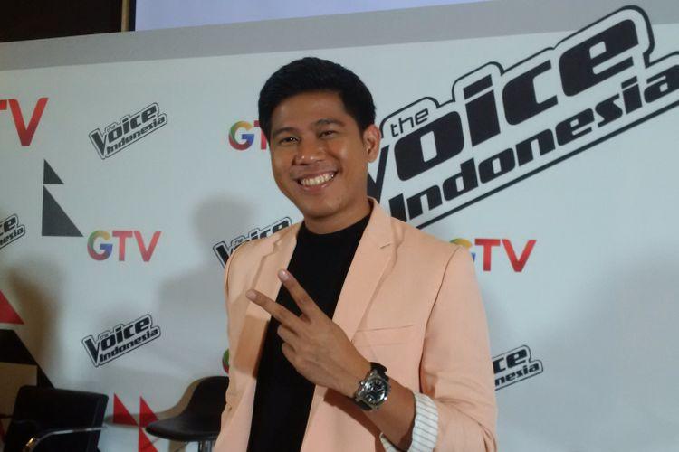 Nino RAN berpose ketika menghadiri jumpa pers The Voice Indonesia di di Auditorium MNC Tower I, Kebon Jeruk, Jakarta Barat, Rabu (12/9/2018).
