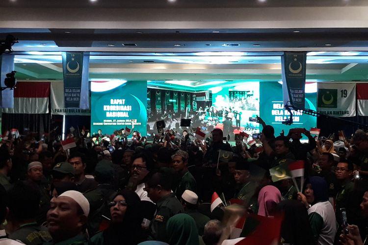 Rapat Koordinasi Nasional Partai Bulan Bintang (PBB) di Ancol, Jakarta Utara, Minggu (27/1/2019).