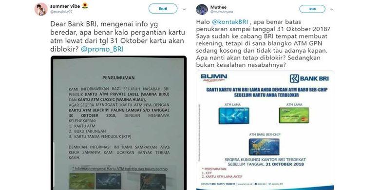 Kabar mengenai penggantian kartu ATM Bank BRI