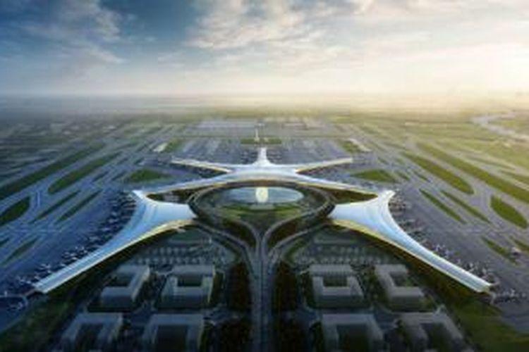 Atkins dan China Southwest Architectural Design and Research Institute (CSWADI) akhirnya berkolaborasi mendesain rancangan induk Bandara Qingdao.