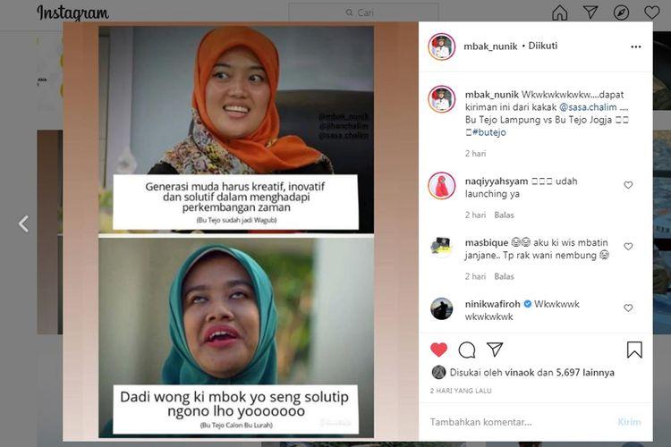 Unggahan foto kemiripan Wakil Gubernur Lampung, Chusnunia Chalim dengan karakter Bu Tejo di film Tilik. (FOTO: Tangkapan layar/Instagram)