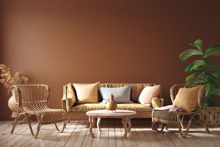 Ilustrasi dekorasi ruangan dengan warna alam yang memberikan nuansa romantis.