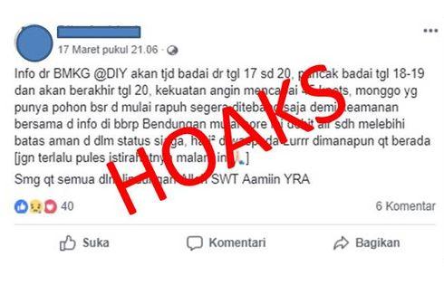 [HOAKS] Ada Badai 45 Knot di Yogyakarta pada 17-20 Maret 2019