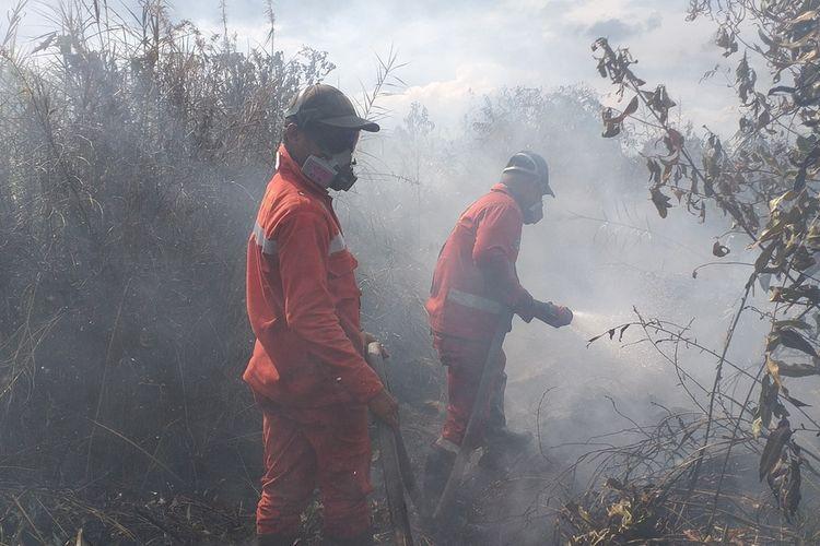 Tim Manggala Agni Daops Siak berupaya memadamkan titik api karhutla di Kampung Bunsur, Kecamatan Sungai Apit, Kabupaten Siak, Riau, Selasa (11/2/2020).
