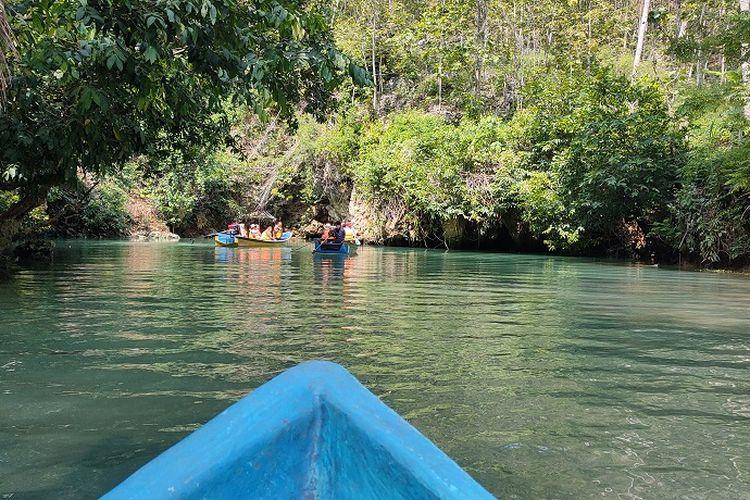 Pemandangan Sungai Maron bak Amazon dari Jawa Timur. Lokasi sungai ini sejejer dengan pantai Watu Karung, dan pantai Kasap, Pacitan, Jawa Timur.