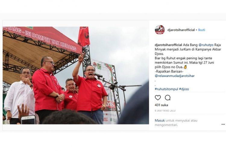 Ruhut Sitompul ketika mengkampanyekan calon gubernur dan calon wakil gubernur Djarot Saiful Hidayat-Sihar Sitorus dalam Pilkada Sumatera Utara.