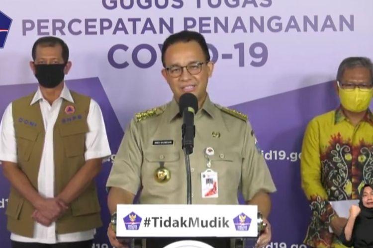 Gubernur DKI Jakarta Anies Baswedan dalam konferensi pers dengan Kepala BNPB Doni Monardo, Senin (25/5/2020)