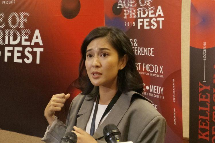 Artis peran Dian Sastrowardoyo di acara Ideafest 2019 yang digelar di JCC, Senayan, Jakarta Pusat, Sabtu (5/10/2019).