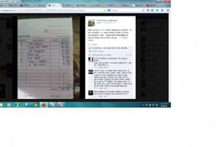 Kuintansi makan Rp 1 juta yang diunggah ke Facebook