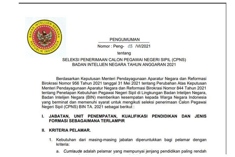 Pengumuman Seleksi CPNS BIN 2021