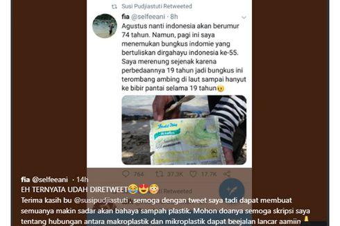 Kicauan Di-RT Menteri Susi, Mahasiswi Penemu Sampah Plastik Bungkus Indomie Berusia 19 Tahun Kaget
