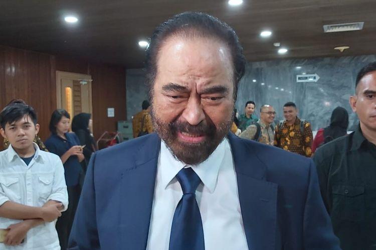 Ketua Umum Partai Nasdem Surya Paloh di Kompleks Parlemen, Senayan, Jakarta, Selasa (1/10/2019).