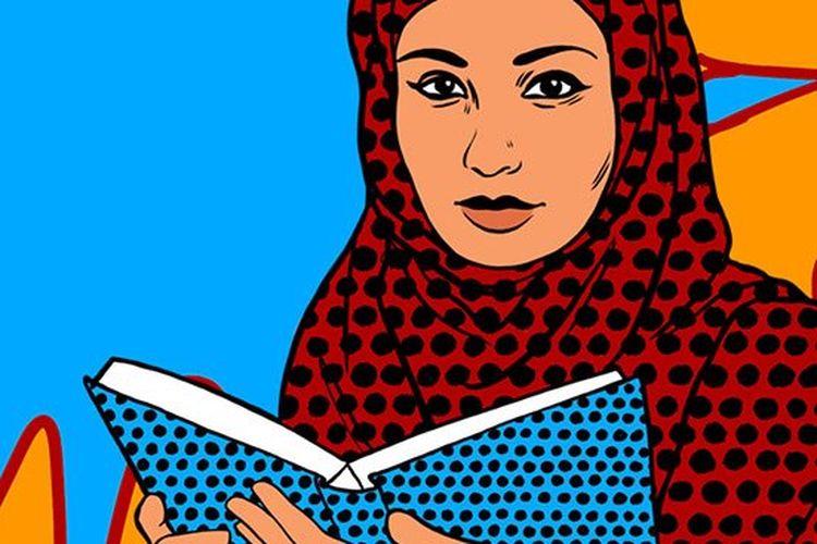 Ilustrasi ini adalah gambar Fatima al-Fihri wanita muslim yang sudah membangun Universitas Pertama di Dunia pada awal abad ke 9.