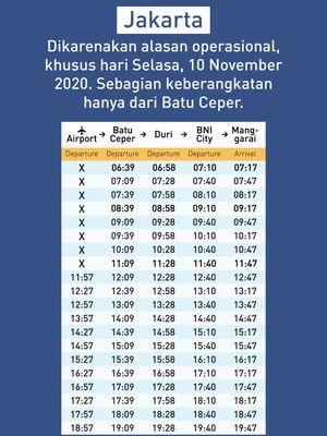 Jadwal KA Bandara Railink 10 November 2020