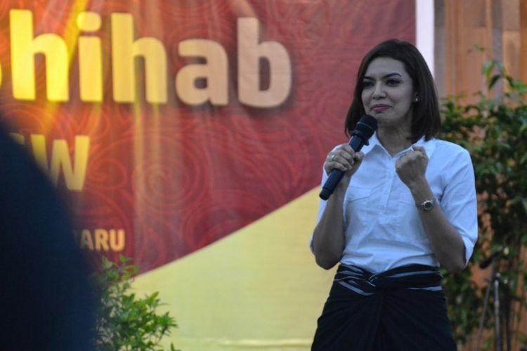 Najwa Shihab ikut memeriahkan rangkaian Orientasi Mahasiswa Baru (OMB) Universitas Kristen Satya Wacana (UKSW) Salatiga, Jumat (25/8) siang.
