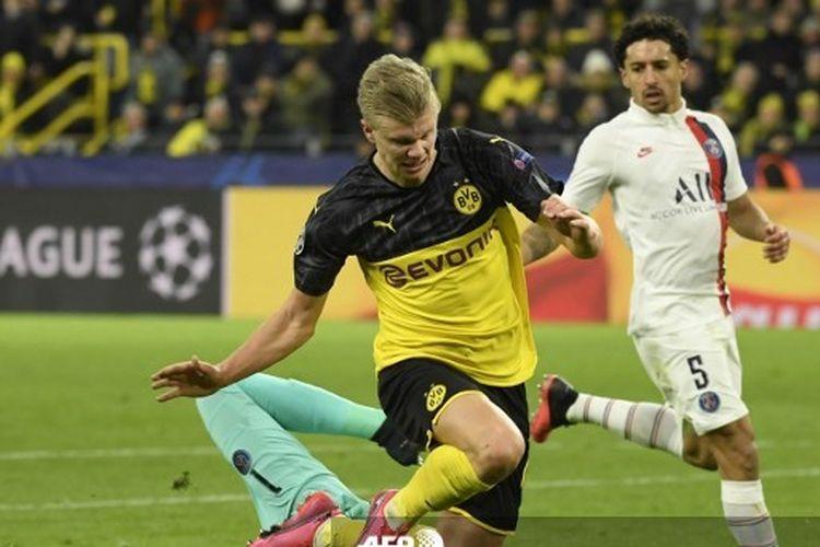 Erling Haaland beraksi di laga Borussia Dortmund vs PSG pada babak 16 besar Liga Champions, 19 Februari 2020.