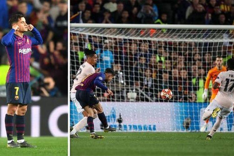Selebrasi tutup telinga Philippe Coutinho setelah mencetak gol spektakuler ke gawang David De Gea, Rabu (17/4/2019)