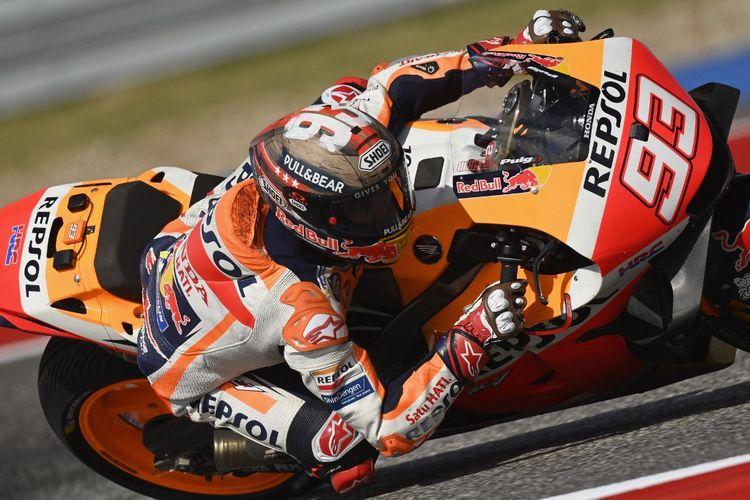 Marc Marquez saat berlaga pada MotoGP Amerika 2021.   Mirco Lazzari gp/Getty Images/AFP (Photo by Mirco Lazzari gp / GETTY IMAGES NORTH AMERICA / Getty Images via AFP)