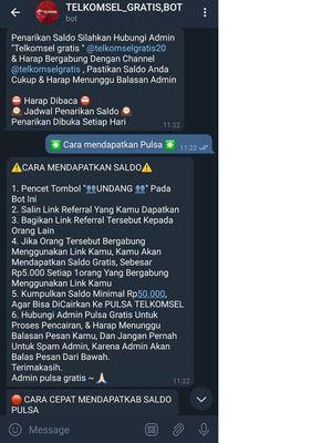 Instruksi penyebaran spam demi iming-iming pulsa Telkomsel gratis, dari kanal bot di Telegram