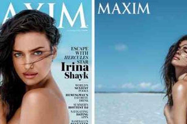 Kekasih Cristiano Ronaldo, Irina Shayk, berpose untuk majalah Maxim.