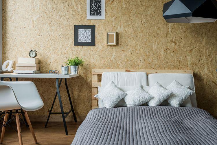 Ilustrasi kamar tidur sempit bergaya minimalis.