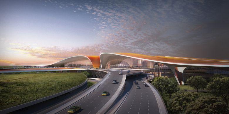 Terminal bandara dirancang dengan desain yang futuristik, yakni berbentuk segi enam raksasa.