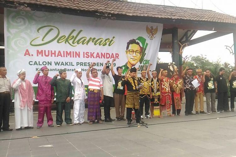 Suasana pembacaan deklarasi dukungan Muhaimin Iskandar sebagai calon wakil presiden di Taman Budaya, Jalan Ahmad Yani, Pontianak (1/11/2017)