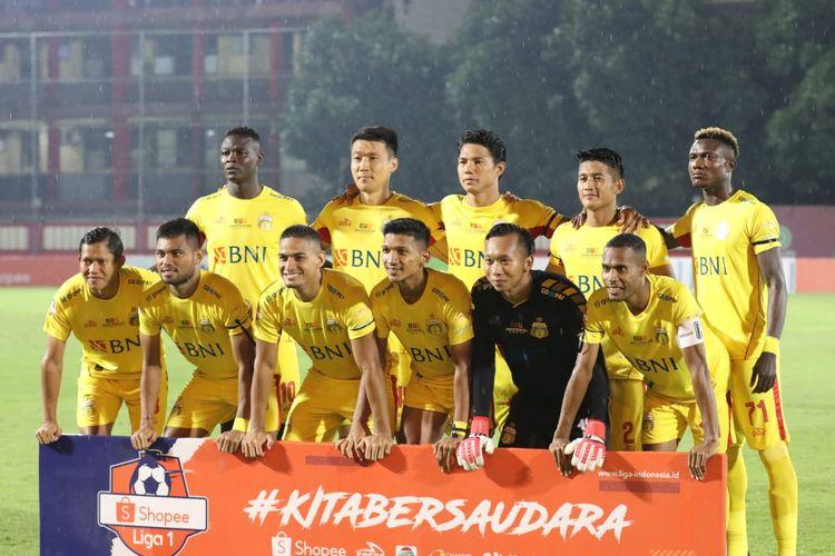 Skuad Bhayangkara FC vs Persija Jakarta, di Stadion PTIK, Jakarta, Sabtu (14/3/2020).