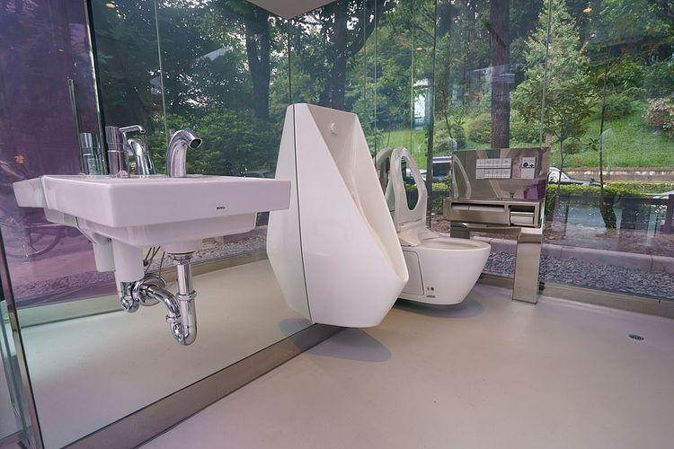 Toilet umum transparan di Taman Mini Yoyogi Fukamachi Tokyo dan Taman Komunitas Haru-no-Ogawa, Jepang, kacanya akan jadi buram saat ada orang di dalamnya.