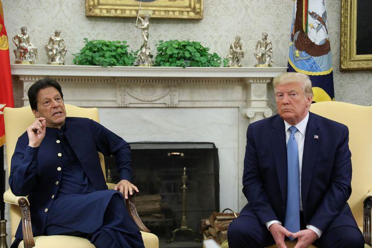 Perdana Menteri Pakistan Imran Khan dan Presiden Amerika Serikat Donald Trump di Kantor Oval Gedung Putih, Washington, pada 22 Juli 2019.