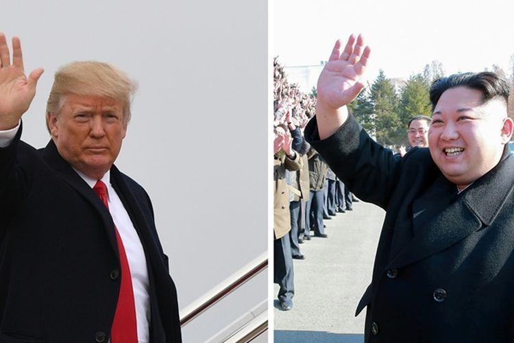 Presiden Amerika Serikat Donald Trump (kiri), dan Pemimpin Korea Utara Kim Jong Un.