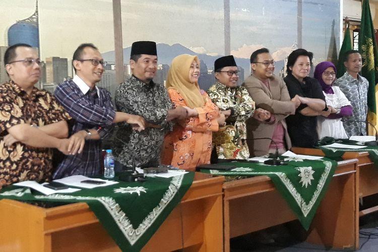Koalisi Masyrakat Sipil Pemantau Pemilu di Gedung PP Muhammadiyah, Jakarta, Minggu (21/4/2019).