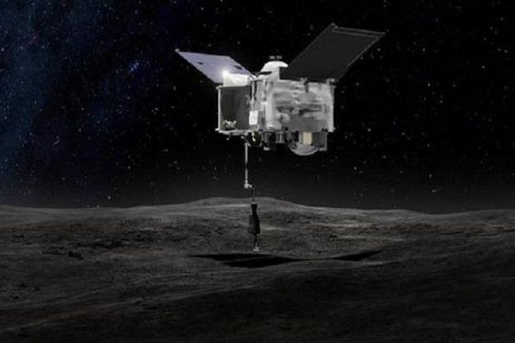 Ilustrasi pendaratan wahana OSIRIS-REx di permukaan asteroid Bennu. Wahana berbobot 2 ton itu akan mengambil sampel debu asteroid untuk mengungkap asal-usul tata surya.