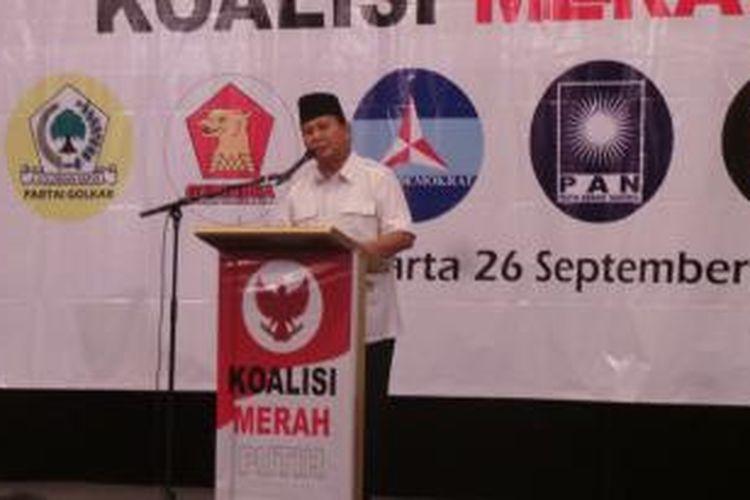 Ketua Umum Partai Gerindra dalam pembekalan caleg terpilih koalisi merah putih
