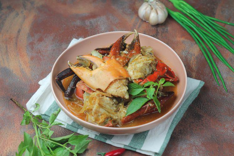 Ilustrasi kepiting masak saus tiram ala restoran chinese food.