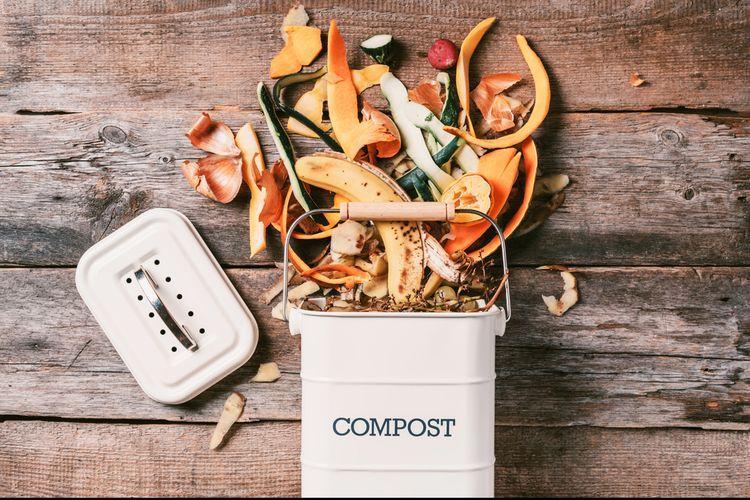 Ilustrasi sisa makanan dijadikan kompos. Cara ini bermanfaat untuk mengurangi sampah makanan.