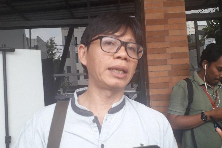Juru Kampanye Greenpeace Indonesia Arie Rompas selepas acara diskusi di kawasan Cikini, Sabtu (21/9/2019).