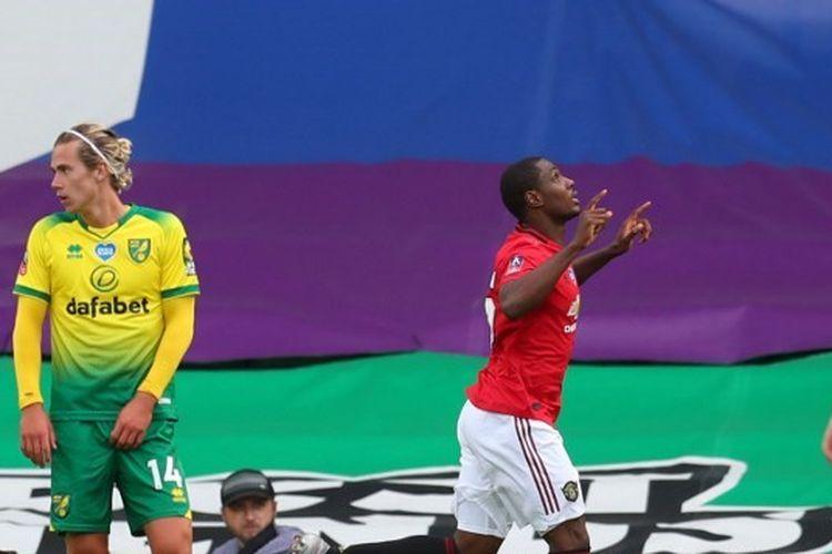 Selebrasi Odion Ighalo dalam laga Norwich City vs Manchester United pada babak perempat final Piala FA 2019-2020.