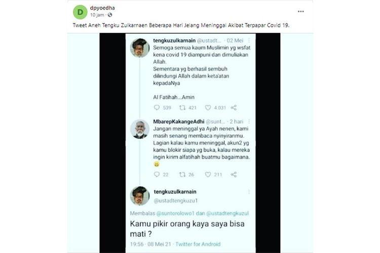 Tangkapan layar klaim yang menyebutkan twit aneh Ustadz Tengku Zulkarnaen