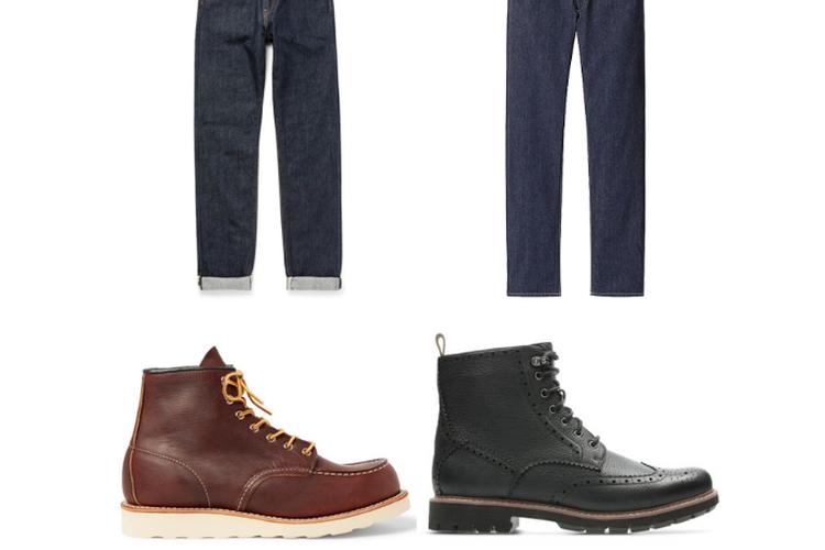 Sepatu hiking boots dan jins