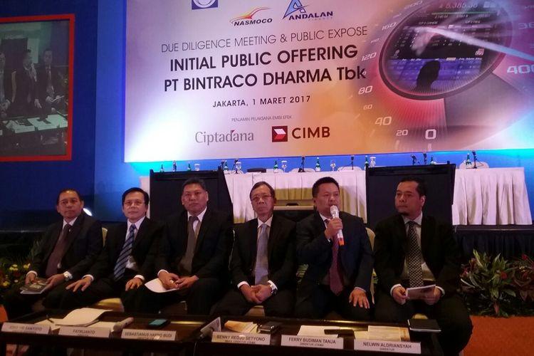 PT Industri dan Perdagangan Bintraco Dharma Tbk akan melakukan penawaran saham perdana (IPO) pada Maret 2017, di Bursa Efek Indonesia, Jakarta, Rabu (1/3/2017).