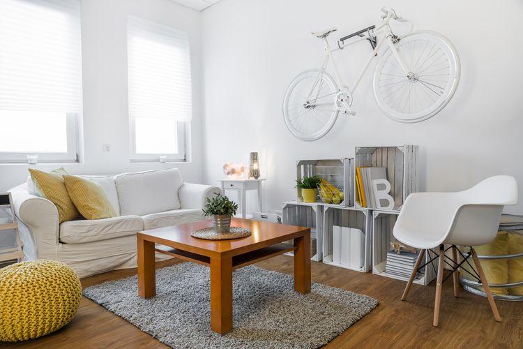 Ilustrasi ruang tamu kecil, ruang tamu sempit.
